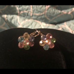 Multi Colored Stone Silver Flower Earrings NWOT